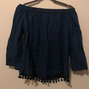 ZARA Navy Blue Off the Shoulder Shift Top